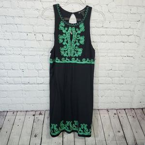 I.N.C  black green embroider embellidsed dress